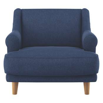 Habitat Townsend Blue Fabric Armchair With Wooden Legs (72 x 90cm)
