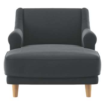 Habitat Townsend Dark Grey Velvet Lounge Chair (72 x 90cm)