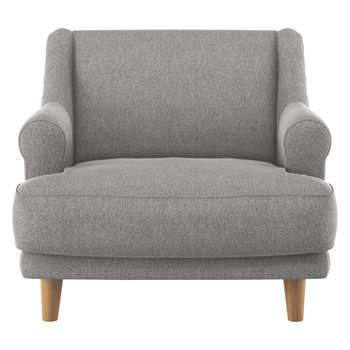Habitat Townsend Grey Fabric Armchair With Wooden Legs (72 x 90cm)
