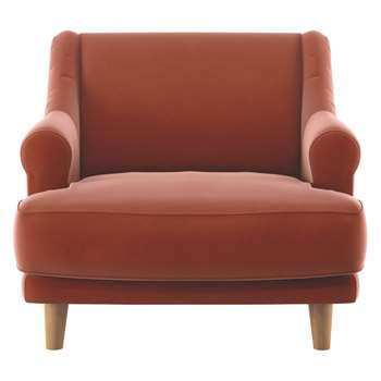 Habitat Townsend Orange Velvet Armchair (72 x 90cm)