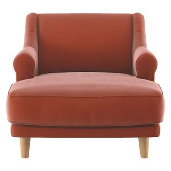 Habitat Townsend Orange Velvet Lounge Chair (72 x 90cm)