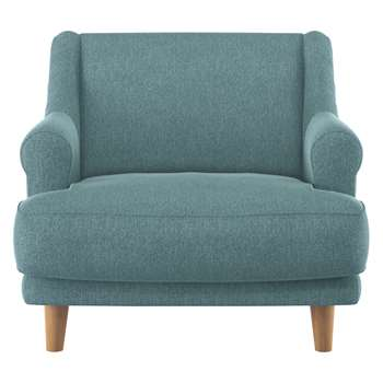 Habitat Townsend Teal Fabric Armchair With Wooden Legs (72 x 90cm)