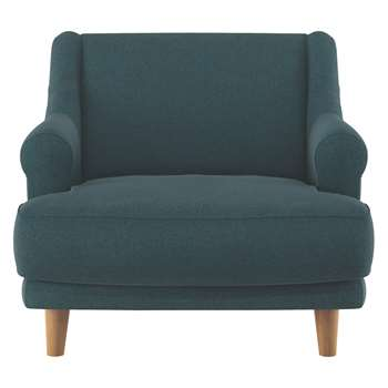 Habitat Townsend Teal Herringbone Wool Mix Armchair (72 x 90cm)