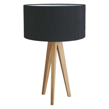 Habitat Tripod Oak Wooden Table Lamp With Black Silk Shade (H55 x W35 x D35cm)