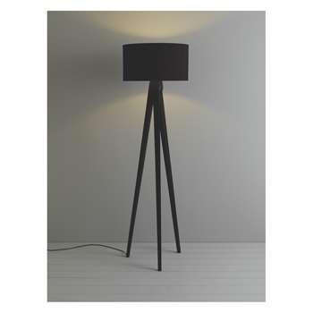 Habitat Tripod Dark Stained Wooden Tripod Floor Lamp With Black Shade