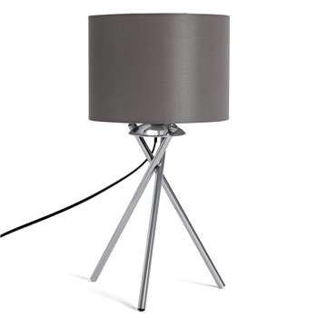 Habitat Tripod Table Lamp - Grey and Chrome (H46 x W22 x D22cm)