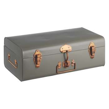 Habitat Trunk Grey Metal Storage Trunk (H18 x W49 x D27cm)