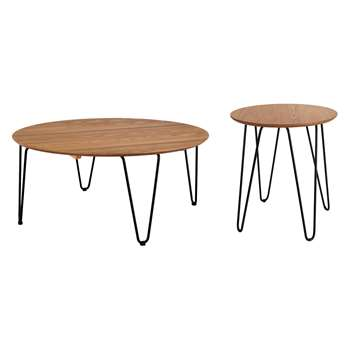 Habitat Tyler Round Ash And Black Metal Coffee And Side Table