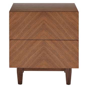Habitat Verona Walnut 2 Drawer Bedside Table (H55 x W50 x D38cm)