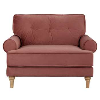 Habitat Vienna Velvet Cuddle Chair - Rose (H84 x W113 x D87cm)