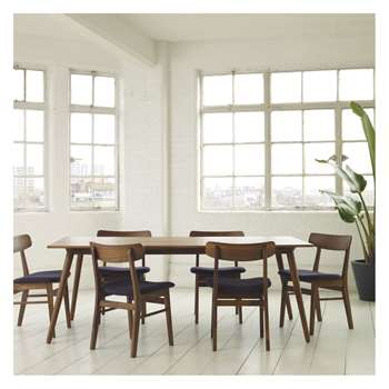 Habitat Vince 6 Seater Dining Set With Vince Walnut Table And 6 Vince Walnut Chairs