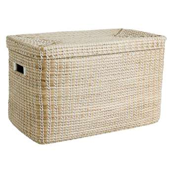 Habitat Vittorio Natural Woven Seagrass Lidded Storage Trunk (36.5 x 60cm)