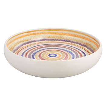 Habitat Wave Blue Multi Coloured Striped Ceramic Bowl (7.5 x 38cm)