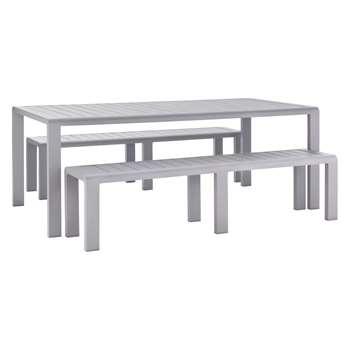Habitat Willsden Grey Metal 8 Seater Garden Dining Set With Benches (75 x 200cm)