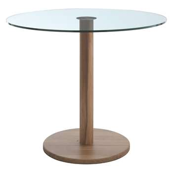 Habitat Woodumi Walnut-stained Wood And Glass Round Dining Table (Diameter 90cm)
