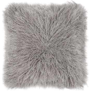 Haddie Mongolian Fur Cushion, Grey (45 x 45cm)