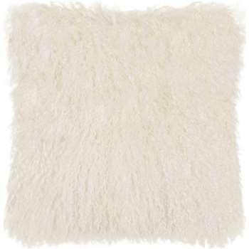 Haddie Mongolian Fur Cushion, Ivory (45 x 45cm)