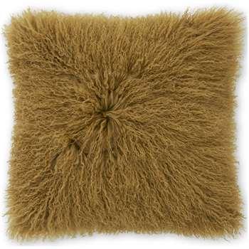 Haddie Mongolian Fur Cushion, Tan (H45 x W45cm)