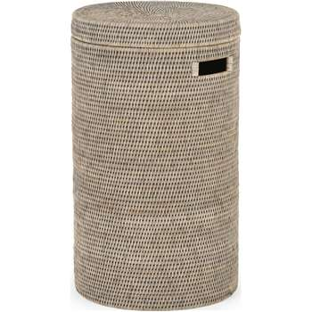 Hadid Hand Woven Rattan Laundry Basket, Grey (H60 x W35 x D35cm)