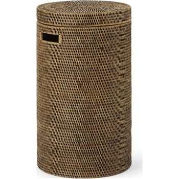 Hadid Hand Woven Rattan Laundry Basket, Honey (H60 x W35 x D35cm)