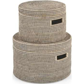 Hadid Set of 2 Hand Woven Rattan Storage Baskets, Grey (H25 x W38 x D38cm)