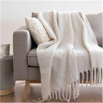 HAFUN - Grey Fringed Blanket (H127 x W152cm)