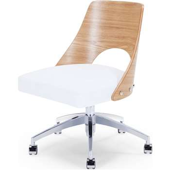Hailey Swivel Office Chair, Ash and White (86 x 58cm)