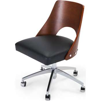 Hailey Swivel Office Chair, Walnut and Black (86 x 58cm)