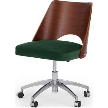 Hailey Swivel Office Chair, Walnut and Pine Green Velvet (H89 x W68 x D63cm)