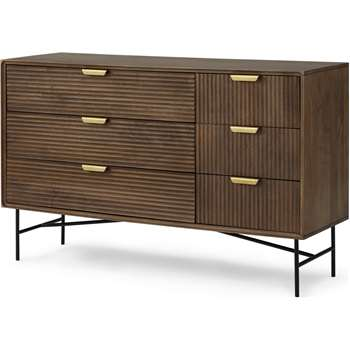 Haines Wide Chest of Drawers, Mango Wood & Brass (H88 x W140 x D45cm)