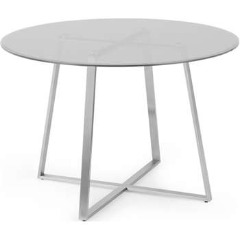 Haku 4 Seat Round Dining Table, Brushed Stainless Steel and Smoked Glass (H75 x W110 x D110cm)