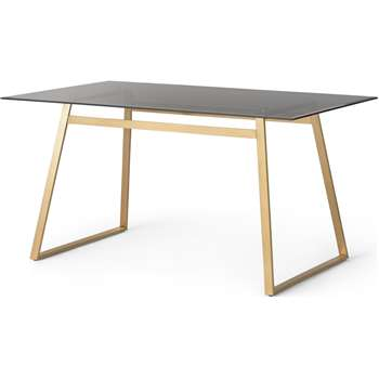 Haku 6 Seat Dining Table, Brass and Smoked glass (H75 x W150 x D85cm)