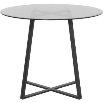 Haku Round Dining Table, Black (75 x 110cm)
