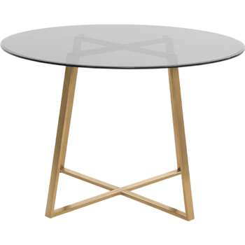 Haku Round Large  Dining Table, Brass and smoked glass (75 x 110cm)