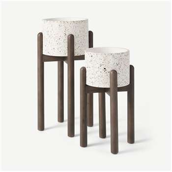 Hakuun Set of 2 Limited Edition Terrazzo Plant Pots With Rubberwood Legs, White Speckle (H54 x W26 x D26cm)