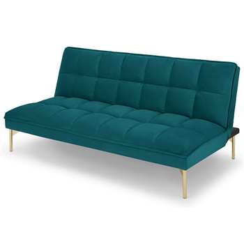 Hallie Click Clack Sofabed, Tuscan Teal Velvet with Brass Legs (H82 x W179 x D97cm)
