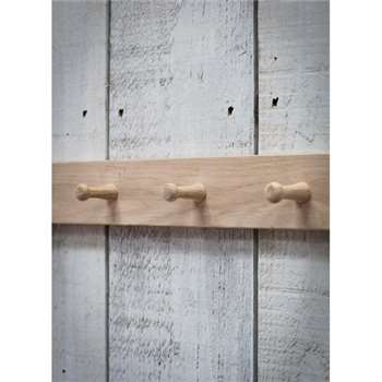 Hambledon 3 Peg Rail - Raw Oak (8 x 40cm)