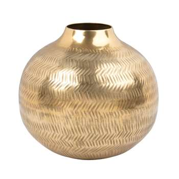 Hammered Golden Metal Ball Vase (H17 x W20 x D20cm)