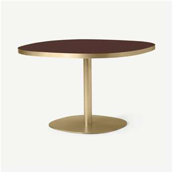 Hampson 4 Seat Round Dining Table, Brass & Plum Glass (H75 x W120 x D120cm)