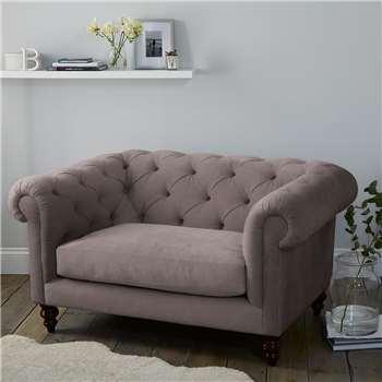Hampstead Velvet Love Seat - Silver Grey Velvet (H77 x W146 x D103cm)