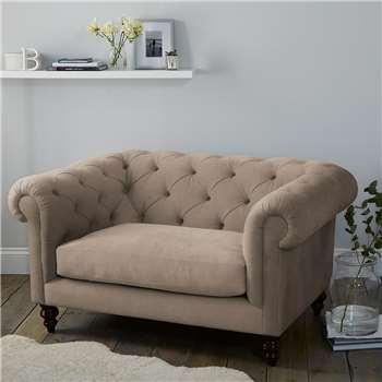 Hampstead Velvet Love Seat - Stone Velvet (H77 x W146 x D103cm)