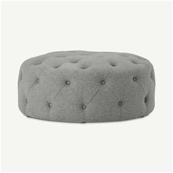 Hampton Large Round Pouffe, Mountain Grey (H40 x W95 x D95cm)