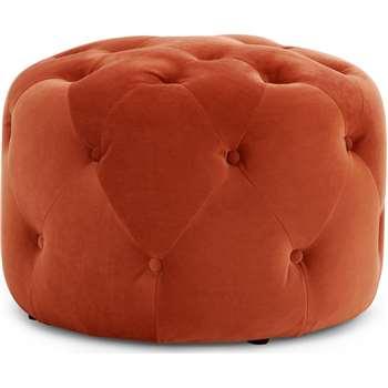Hampton Small Round Pouffe, Flame Orange Velvet (H40 x W60 x D60cm)