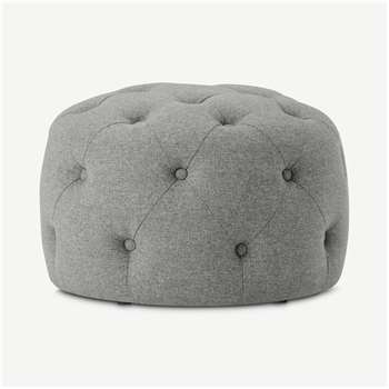 Hampton Small Round Pouffe, Mountain Grey (H40 x W60 x D60cm)