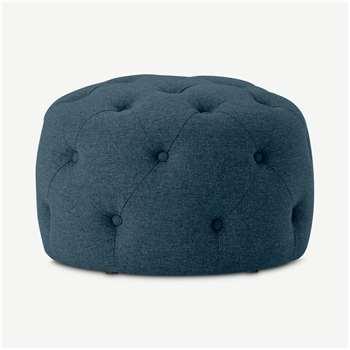 Hampton Small Round Pouffe, Orleans Blue (H40 x W60 x D60cm)