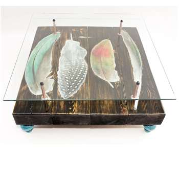 Cappa E Spada - Hand Distressed Bird Feather Coffee Table with Glass Top (H38 x W96.5 x D101.6cm)