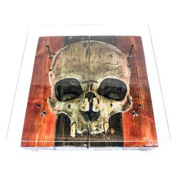 Cappa E Spada - Hand Distressed Gothic Skull Coffee Table with Glass Top (H38 x W96.5 x D101.6cm)