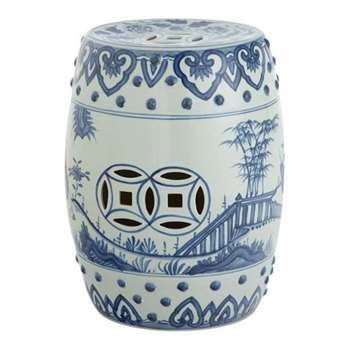 Handpainted Chinese Barrel Seat, Ceramic - Pale Blue (H44 x W34 x D34cm)