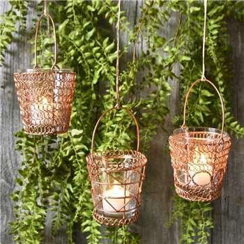Hanging Copper Tealights (H9 x W8 x D8cm)