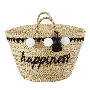 HAPINESS Embroidered Plant Fibre Basket with Pom Poms (H53 x W62cm)